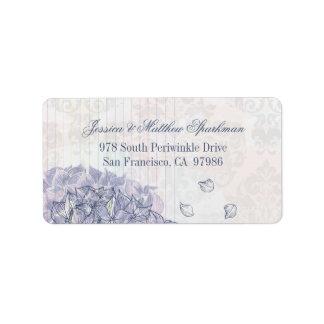 Cobalt blue hydrangea flower wedding address label