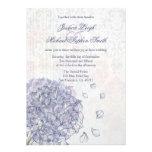 Cobalt blue hydrangea flower wedding invitation