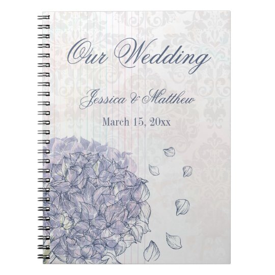 Cobalt blue hydrangea flower wedding planner notebook