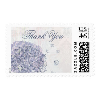 Cobalt blue hydrangea flower wedding thank you postage