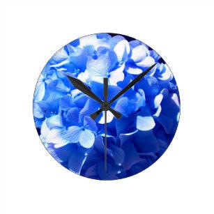 Cobalt Blue Hydrangea Round Clock
