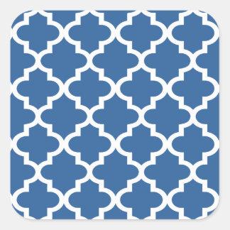 Cobalt Blue Moroccan Tile Trellis Square Sticker