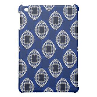 Cobalt Blue Nouveau Checked Pattern iPad Mini Case