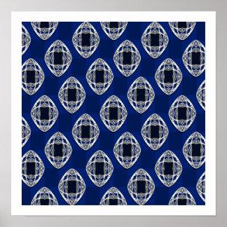 Cobalt Blue Nouveau Checked Pattern Poster