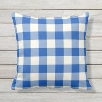 Cobalt Blue Outdoor Pillows - Gingham Pattern
