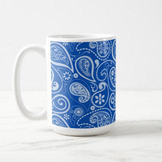 Cobalt blue paisley floral coffee mug for Blue mug designs