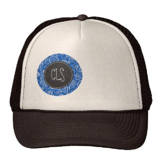 Cobalt Blue Paisley; Vintage Chalkboard Hats