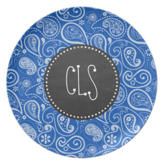 Cobalt Blue Paisley; Vintage Chalkboard Plates