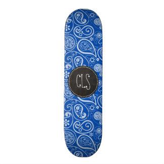 Cobalt Blue Paisley; Vintage Chalkboard Skateboard Deck