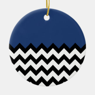Cobalt Blue Pattern On Large Zigzag Chevron Ceramic Ornament