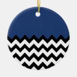 Cobalt Blue Pattern On Large Zigzag Chevron Christmas Tree Ornament