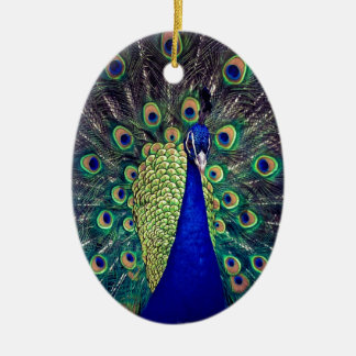Cobalt Blue Peacock Ceramic Ornament
