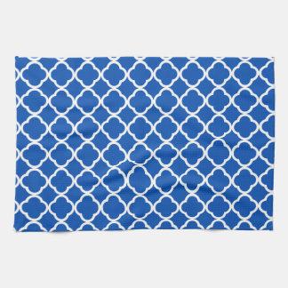 Great Cobalt Blue Quatrefoil Kitchen Towel