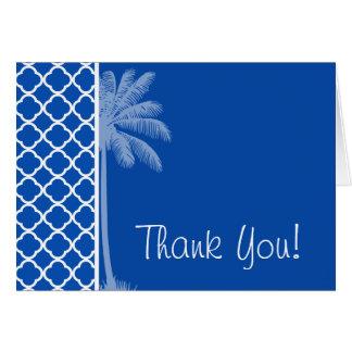Cobalt Blue Quatrefoil; Palm Card