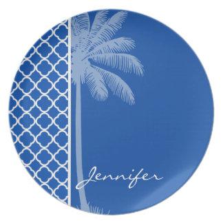 Cobalt Blue Quatrefoil; Palm Party Plates
