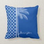 Cobalt Blue Quatrefoil; Palm Throw Pillows