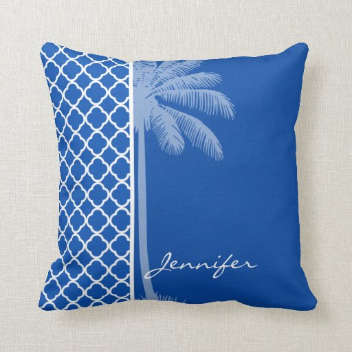 Cerulean Blue Throw Pillows : Cobalt Blue Quatrefoil; Palm Throw Pillows Zazzle