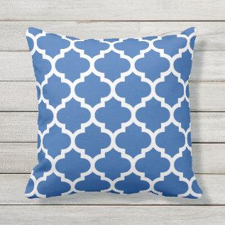 Cobalt Blue Quatrefoil Pattern Outdoor Pillows at Zazzle