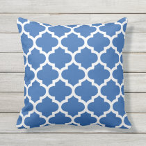 Cobalt Blue Quatrefoil Pattern Outdoor Pillows
