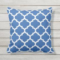 Cobalt Blue Quatrefoil Pattern Outdoor Pillows