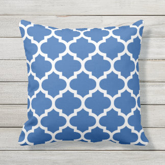 cobalt blue quatrefoil pattern outdoor pillows - Blue Decorative Pillows