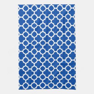 Cobalt Blue Quatrefoil Trellis Pattern Kitchen Tow Kitchen Towel
