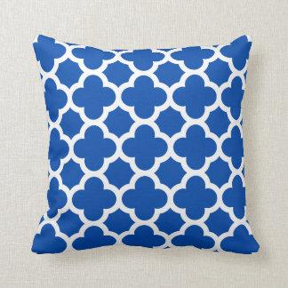 Cobalt Blue Quatrefoil Trellis Pattern Pillows