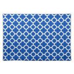 Cobalt Blue Quatrefoil Trellis Pattern Cloth Placemat