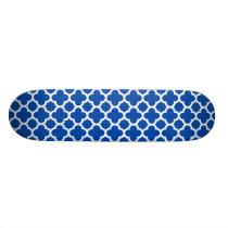 Cobalt Blue Quatrefoil Trellis Pattern Skateboard Deck