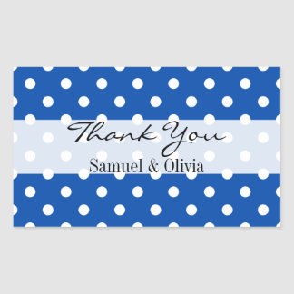 Cobalt Blue Rectangle Custom Polka Dots Thank You Rectangular Sticker