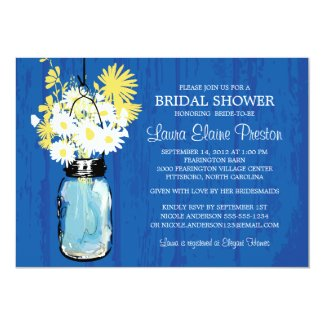 Cobalt Blue Rustic Mason Jar and Yellow Daisies Invitation