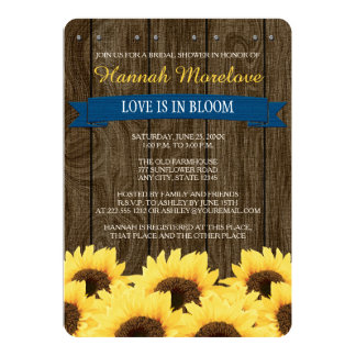 COBALT BLUE RUSTIC SUNFLOWER BRIDAL SHOWER INVITE