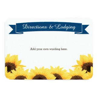 COBALT BLUE RUSTIC SUNFLOWER ENCLOSURE INSERT CARD