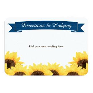 COBALT BLUE RUSTIC SUNFLOWER ENCLOSURE INSERT CARD