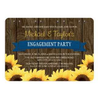 COBALT BLUE RUSTIC SUNFLOWER ENGAGEMENT PARTY CARD