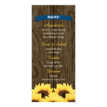 COBALT BLUE RUSTIC SUNFLOWER MENU CARD