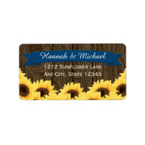 COBALT BLUE RUSTIC SUNFLOWER RETURN ADDRESS LABEL