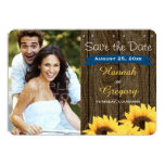 COBALT BLUE RUSTIC SUNFLOWER SAVE THE DATE CARD