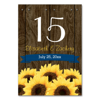 COBALT BLUE RUSTIC SUNFLOWER TABLE NUMBER CARD