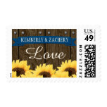 COBALT BLUE RUSTIC SUNFLOWER WEDDING LOVE POSTAGE