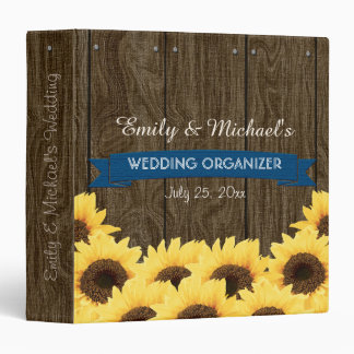 COBALT BLUE RUSTIC SUNFLOWER WEDDING ORGANIZER 3 RING BINDER