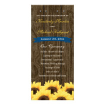 Cobalt Blue Rustic Sunflower Wedding Program
