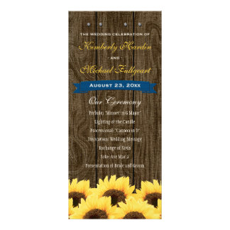 Cobalt Blue Rustic Sunflower Wedding Program