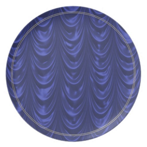 Cobalt Blue Satin Fabric with Scalloped Texture Party Plate