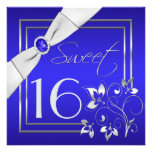 Cobalt Blue Silver Floral Sweet Sixteen Invitation
