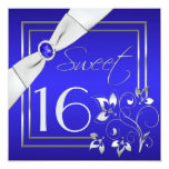 Cobalt Blue Silver Floral Sweet Sixteen Invitation