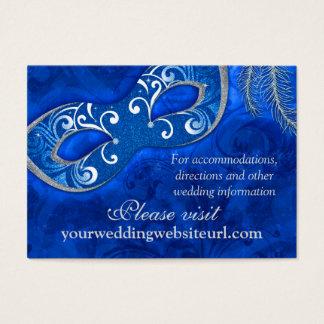 Cobalt Blue Silver Masquerade Ball Wedding Website Business Card