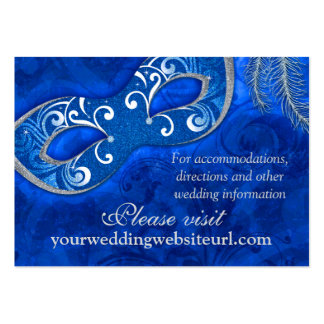 Cobalt Blue Silver Masquerade Ball Wedding Website Large Business Cards (Pack Of 100)