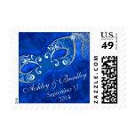 Cobalt Blue Silver Masquerade Mardi Gras Wedding Postage Stamp