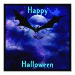 "Cobalt Blue Sky Bats  Halloween Party Invitation 5.25"" Square Invitation Card"
